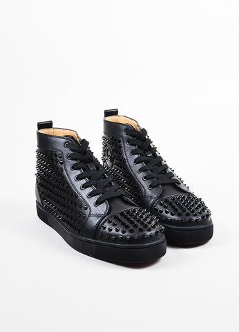 "Men's Christian Louboutin Black Leather ""Louis Flat Spikes Frontview"