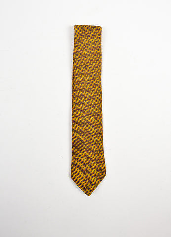 MENS Hermes Brown Orange Gold Silk Print Tie Front 2