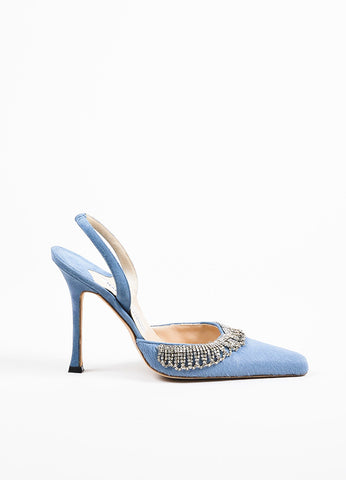 Manolo Blahnik Blue Pony Hair Scalloped Rhinestone Pointed Toe Slingbacks Sideview