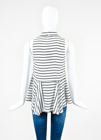 "Marissa Webb White and Black Silk Stripe Layered ""Cynthia"" Sleeveless Top Backview"