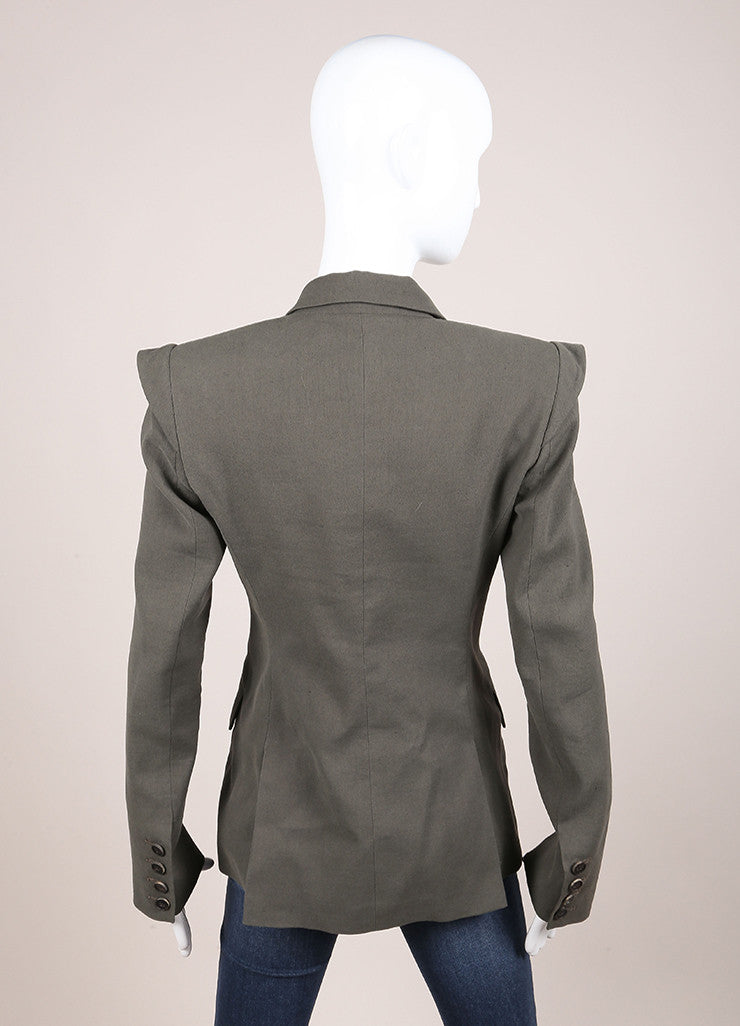 Marissa Webb Olive Green Long Fitted Blazer Backview