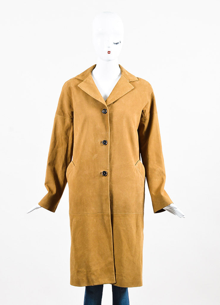 Marni Camel Tan Grained Leather Button Down Long Sleeve Coat Jacket Frontview 2