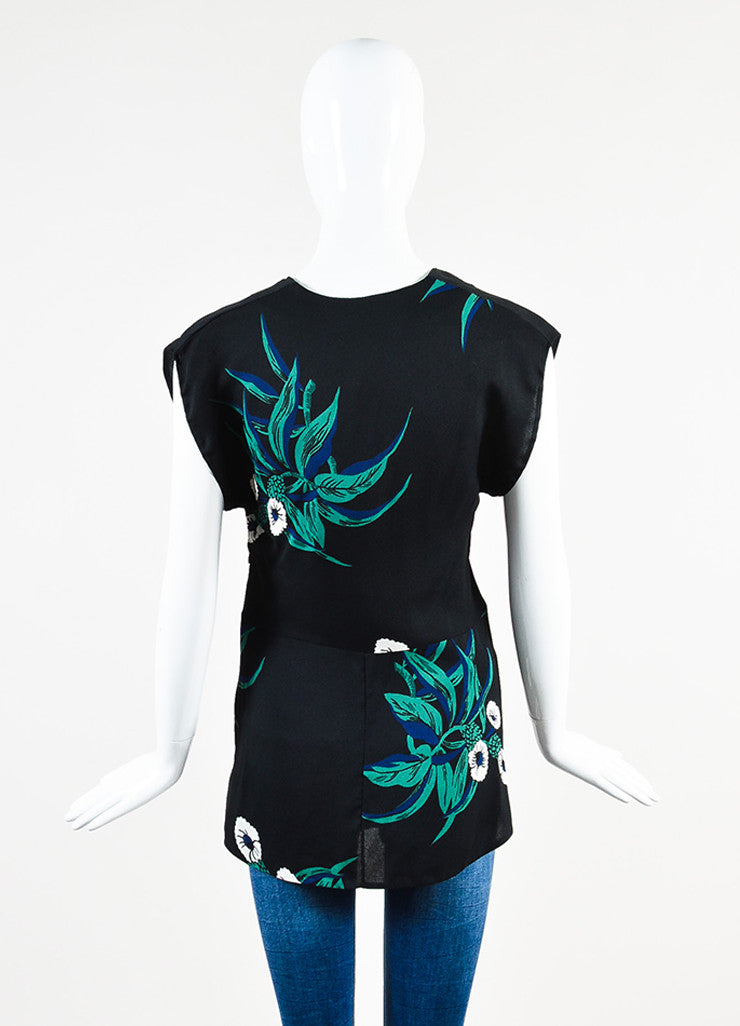 Black, Green and Navy Blue Marni Floral Print Pleated Sleeveless Top Back
