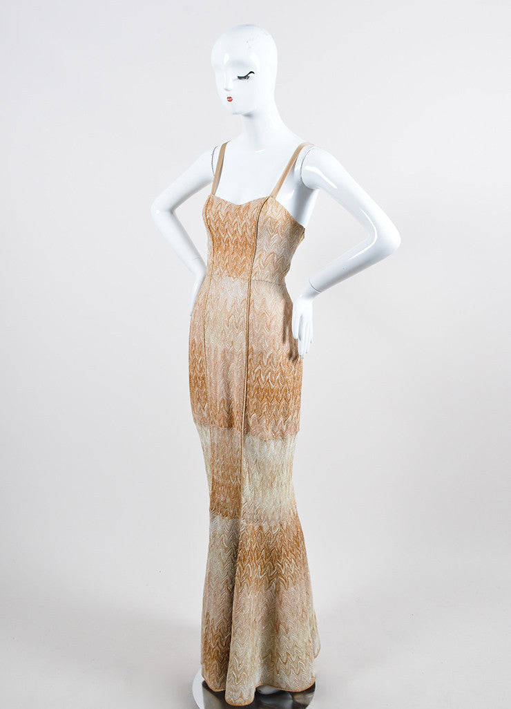 Tan and Gold Metallic Missoni Woven Knit Strapless Gown Sideview