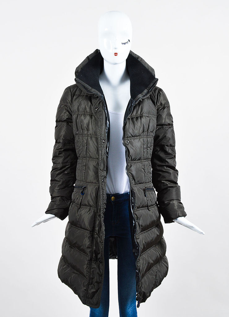 Dark Grey Moncler Nylon Down Quilted Knit Collar Puffer Coat Frontview