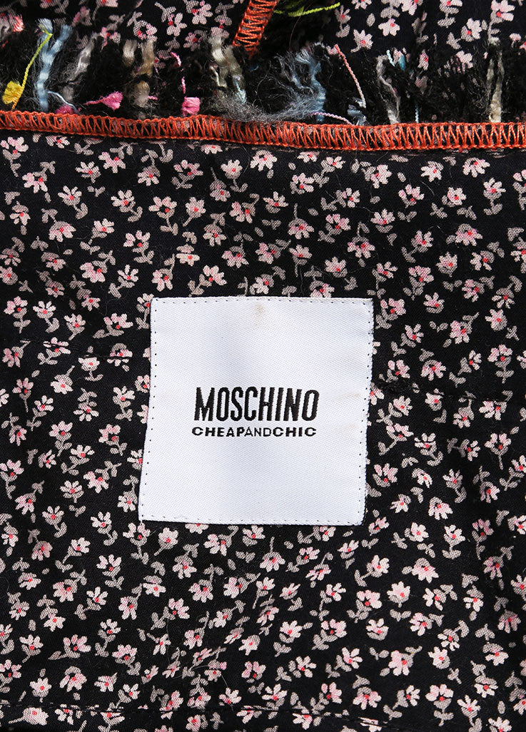 Moschino Cheap and Chic Black Knit Tweed Floral Sewing Embellished Blazer Brand