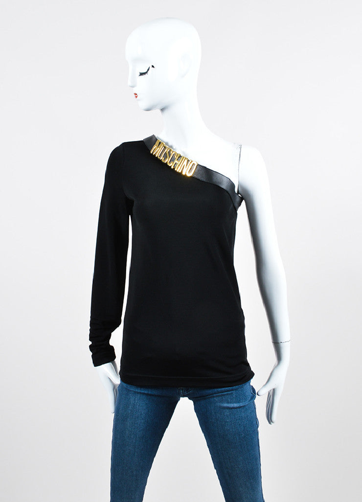 Black Moschino Leather Trim Logo One Sleeve Top Front
