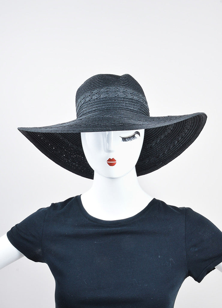 Black Mott 50 Straw Braided Floppy Brim 'Gisele' Sun Hat Frontview