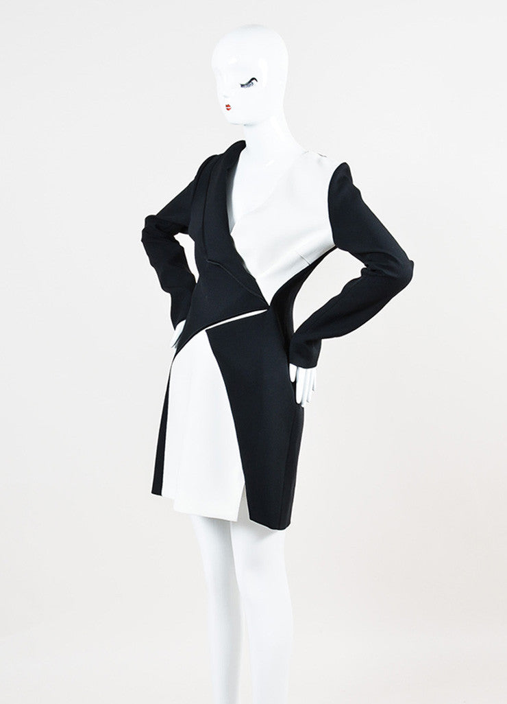 Mugler Black and White Crepe Color Block Asymmetrical Lapel Dress Sideview