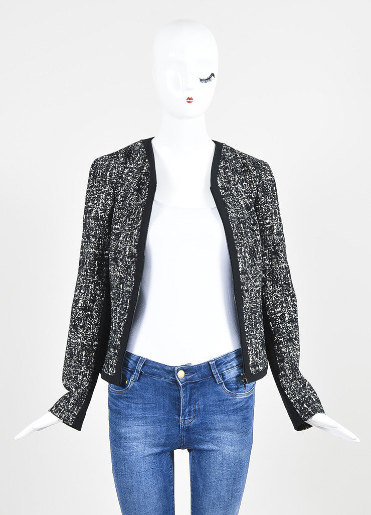 Black and White Narciso Rodriguez Tweed Stretch Scuba Combo Jacket Frontview