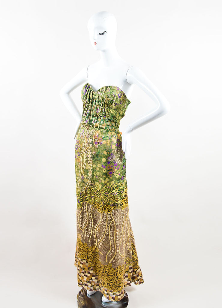 Oscar de la Renta Green, Purple, and Gold Silky Embroidered Strapless Gown Sideview