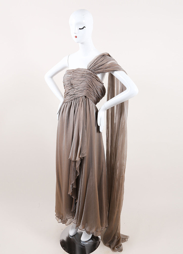Oscar de la Renta Taupe Chiffon Strapless Draped Tea Length Dress Sideview