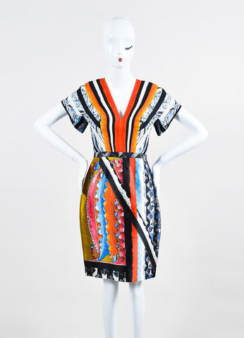 Multicolor Peter Pilotto Silk Graphic Print Short Sleeve Dress Frontview