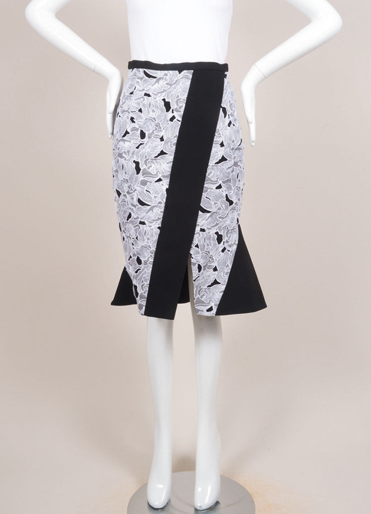 "Peter Pilotto New With Tags Black and White Lace Paneled ""Jane"" Trumpet Skirt Frontview"