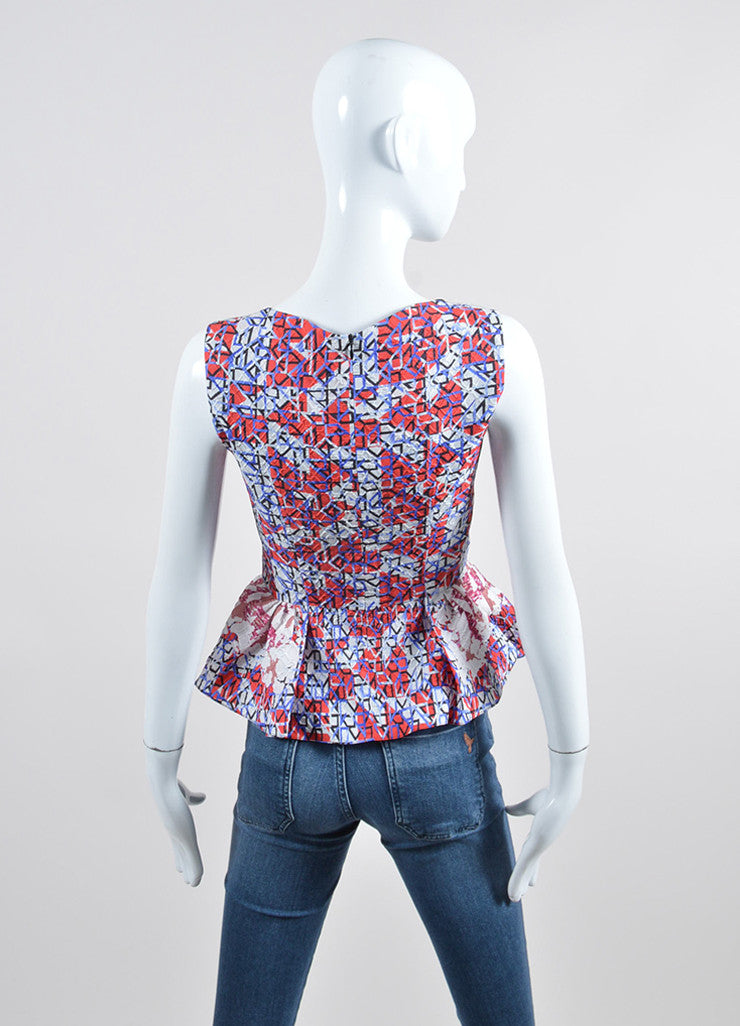 "Peter Pilotto ""Camo Pink"" Textured Silk V-Neck Sleeveless Peplum Top Backview"