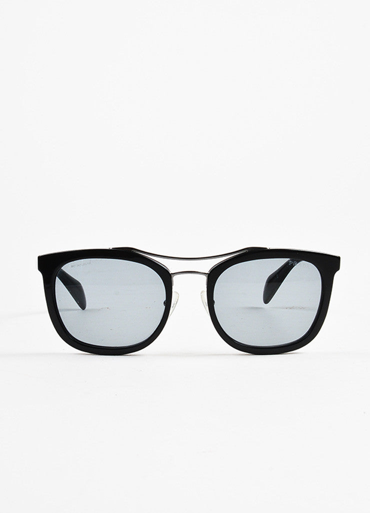 Prada Black and Silver Toned Wire Wayfarer Sunglasses Frontview