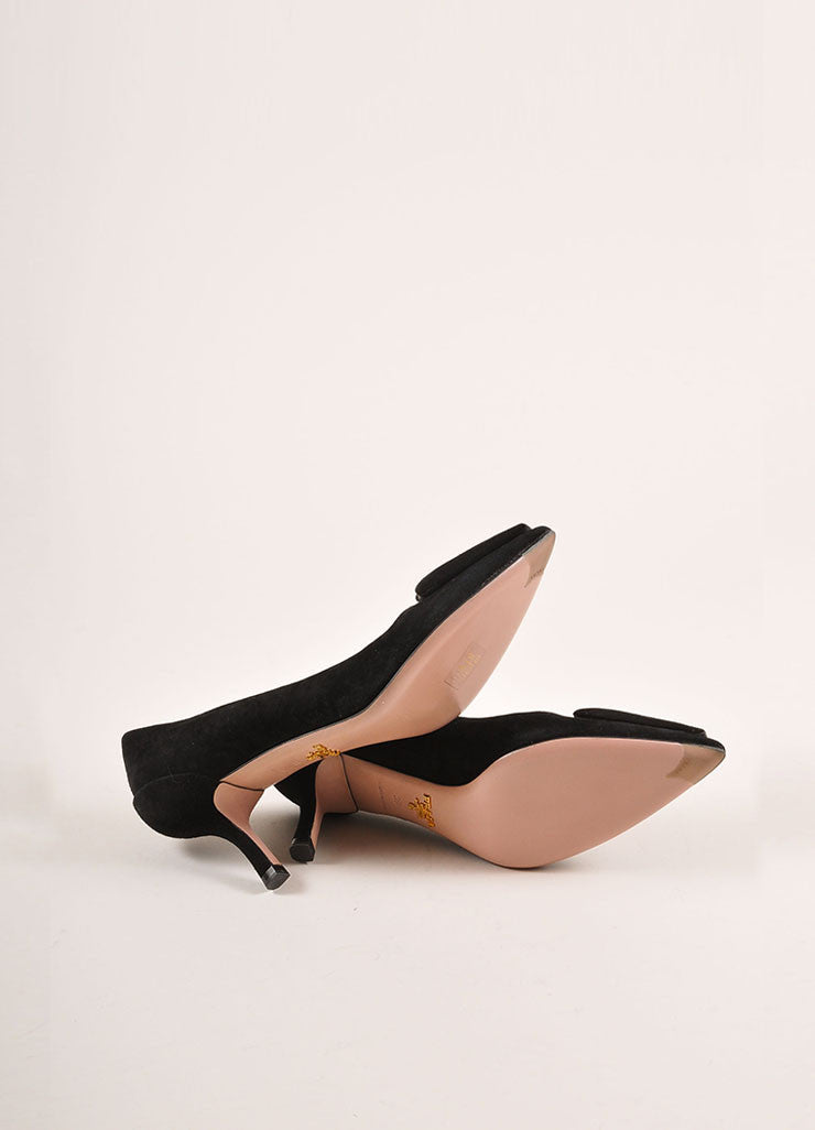 Prada Black and Grey Triangle Applique Pointed Toe Suede Leather Pumps Outsoles