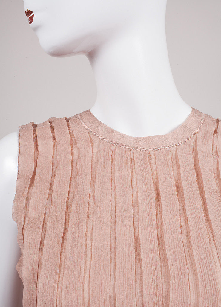Prada Blush Pleated Tie Back Sleeveless Blouse Detail