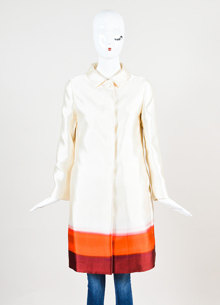 Prada Cream and Red Silk Ombre Long Jacket Frontview 2