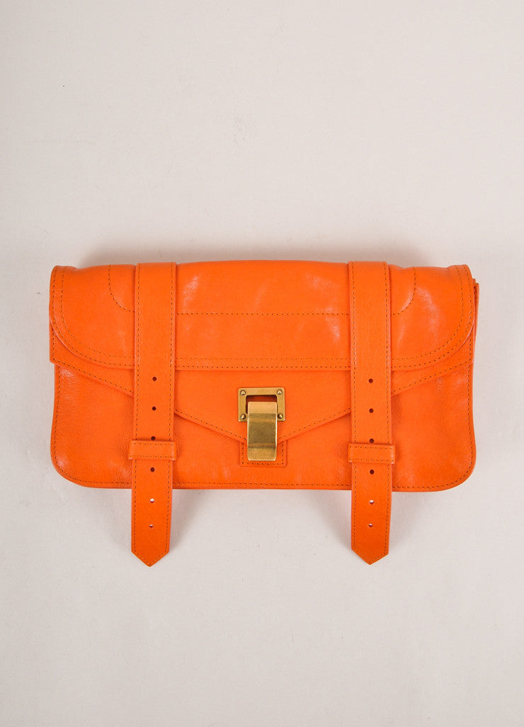 "Proenza Schouler Orange Leather Latch Flap ""PS1 Pochette"" Clutch Bag Frontview"