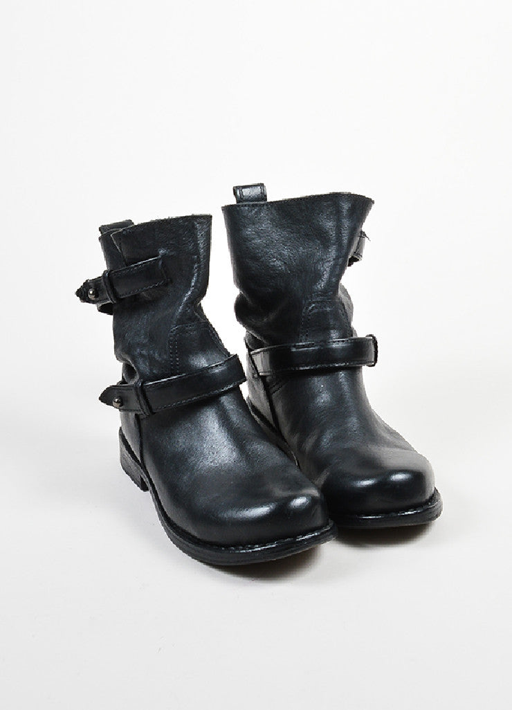 Black Rag & Bone Leather Belted Short Moto Boots Frontview