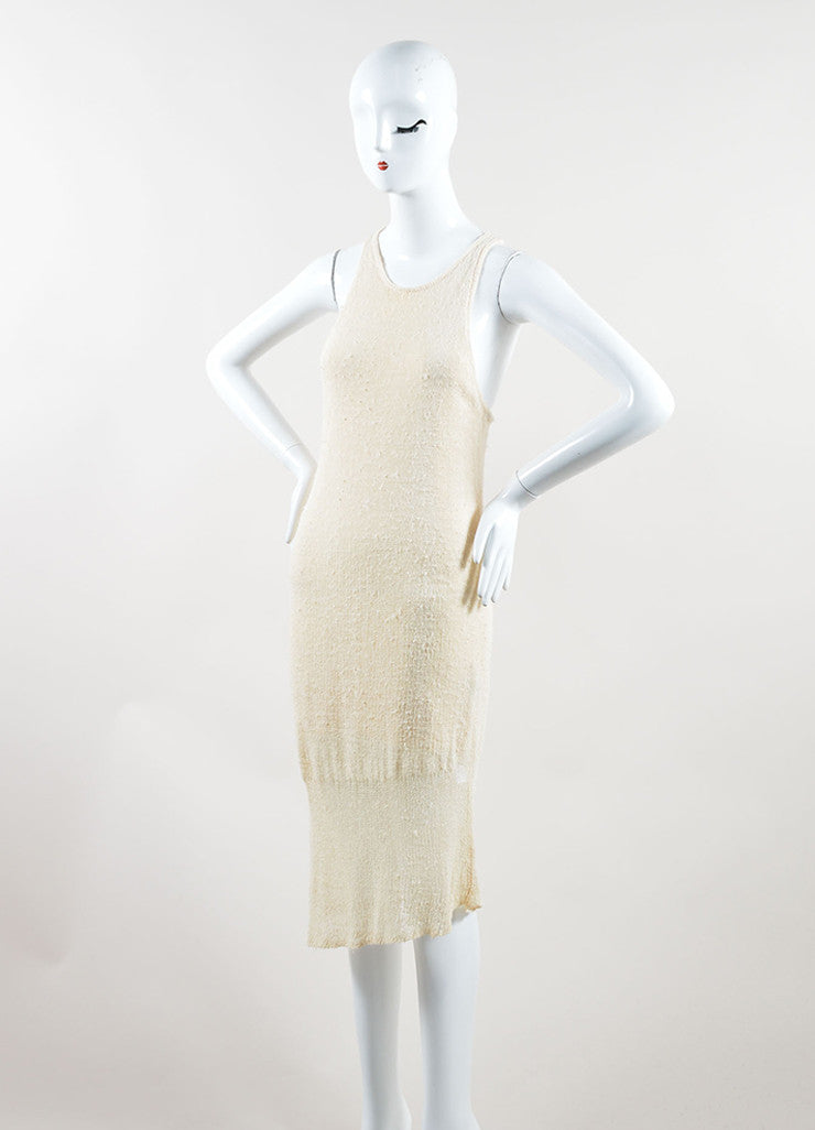 "Rag & Bone Cream Knit Knee Length Asymmetric Racerback ""Bridget"" Tank Dress  Sideview"