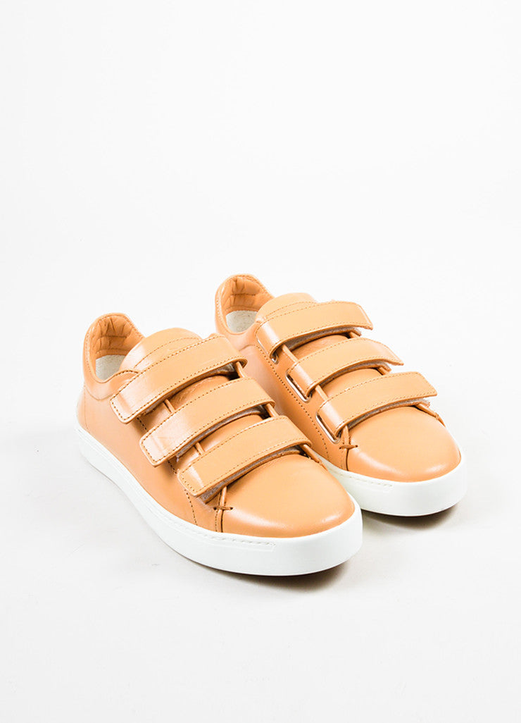 "Tan ""Sand"" and White Rag & Bone Leather ""Kent"" Velcro Low Top Sneakers Frontview"