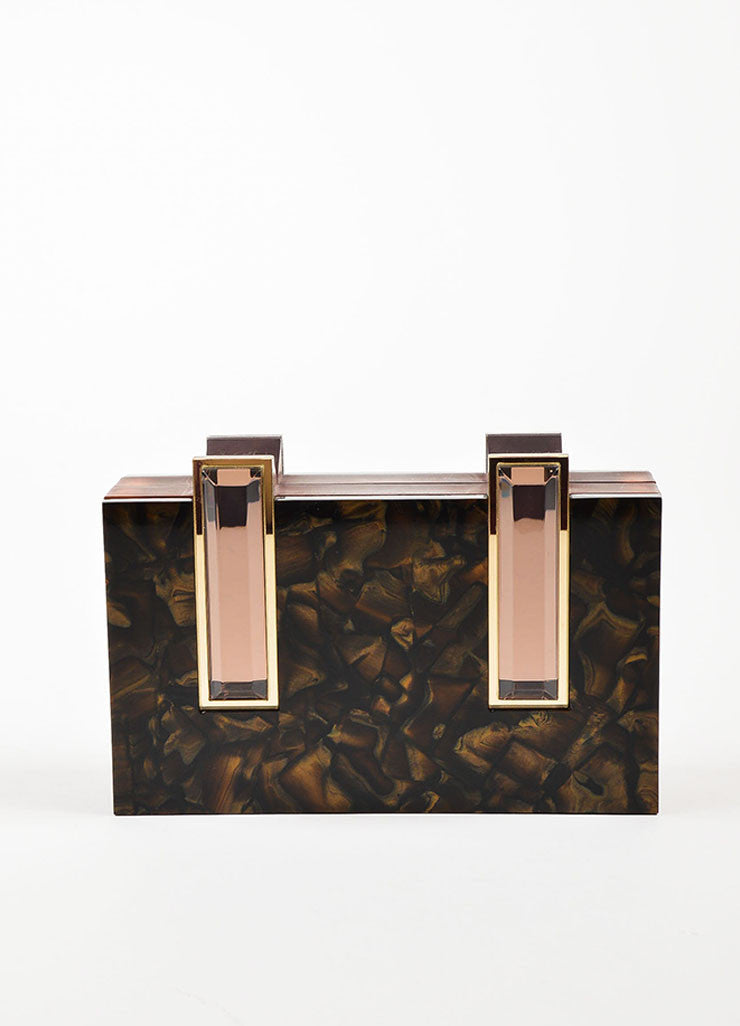 "Rauwolf Brown Opalescent Plexiglass ""Elettra"" Gold Leaf Clutch Bag Frontview"