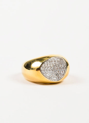 "Roberto Coin 18K Yellow Gold and Pave Diamond ""Capri Plus"" Cocktail Ring Sideview"