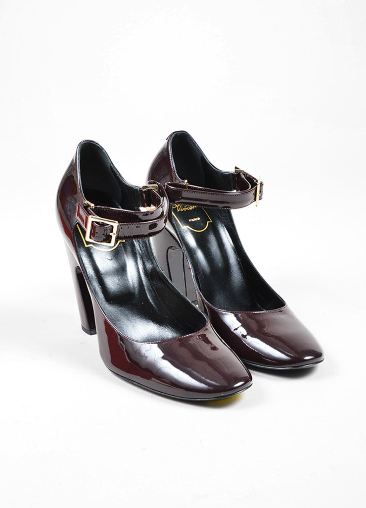 Burgundy Roger Vivier Patent Leather Mary Jane Heels Frontview