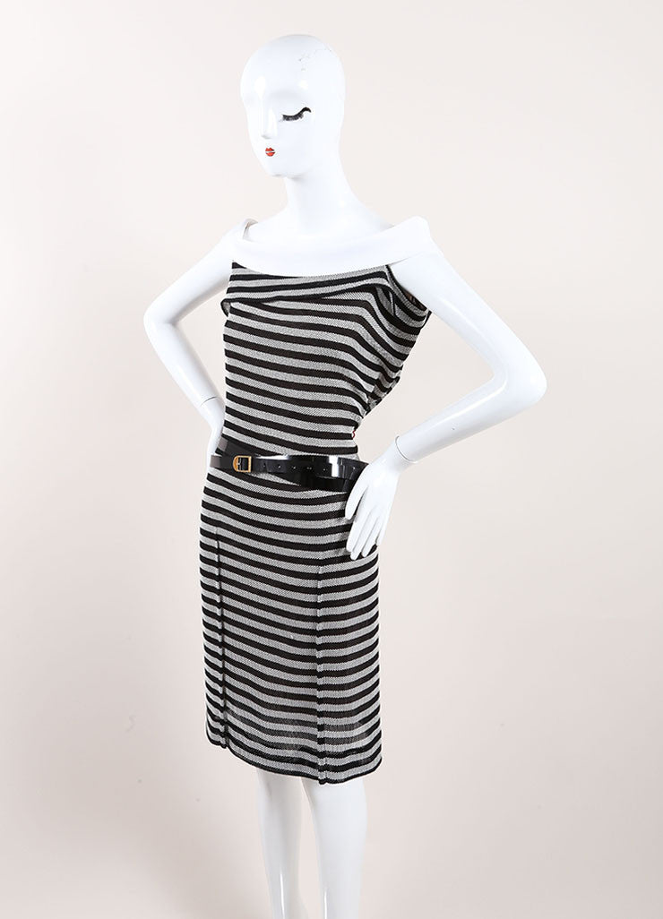 "Roland Mouret Black and White Cotton Striped ""Layan"" Belted Dress Sideview"