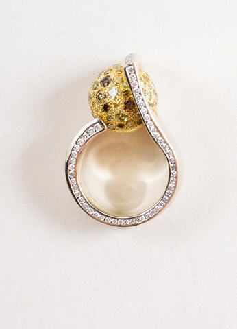 Sherry Bender 14K White Gold and 18K Yellow Gold Diamond Pave Ball Curve Ring Topview