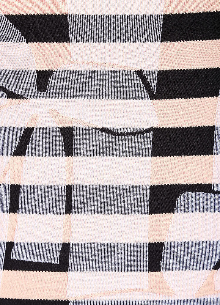 Sonia Rykiel New With Tags Black and Nude Stretch Knit Stripe Bow Print Dress Detail