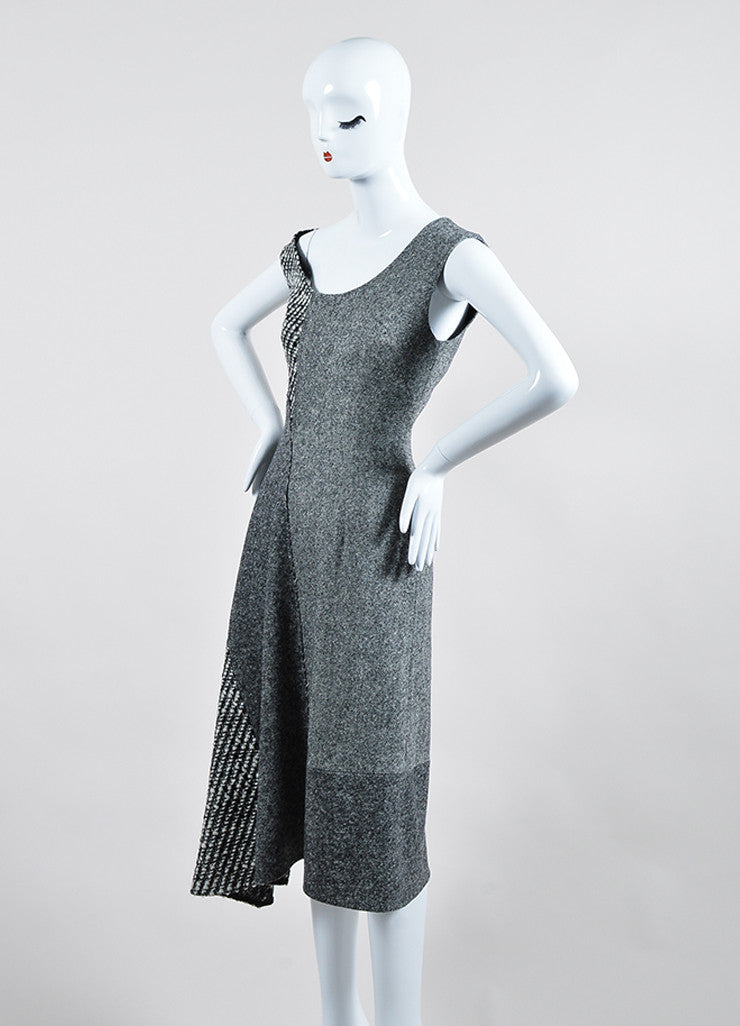 "Grey Wool Tweed Stella McCartney ""Jackie"" Sleeveless Midi Dress Sideview"