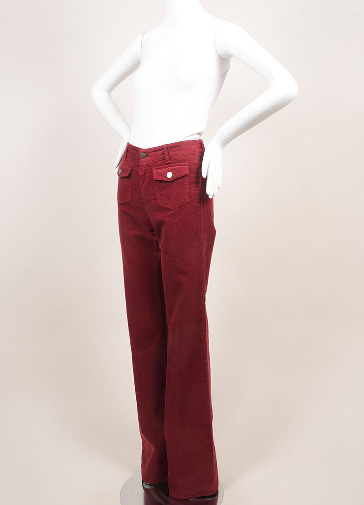 Stella McCartney New With Tags Red Cotton Corduroy Wide Leg Flare Pants  Sideview