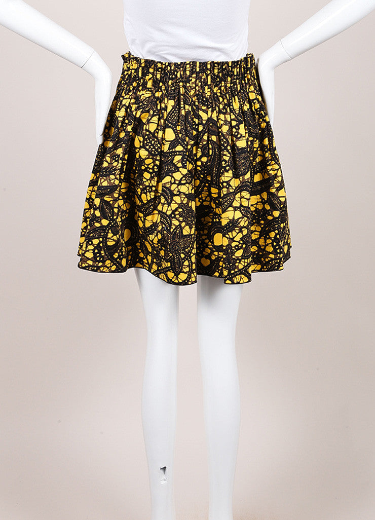 Thakoon Yellow, Black, and Brown Feather Splatter Print Pleated Skater Skirt Backview