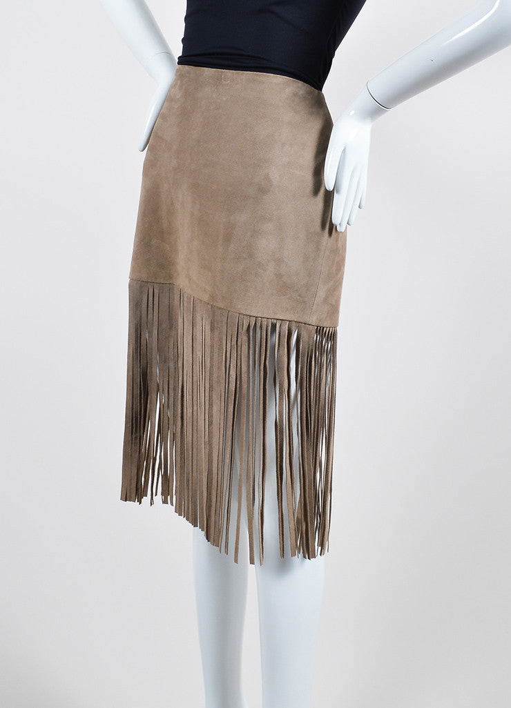 The Perfext Taupe Suede Fringe Mini Skirt Sideview