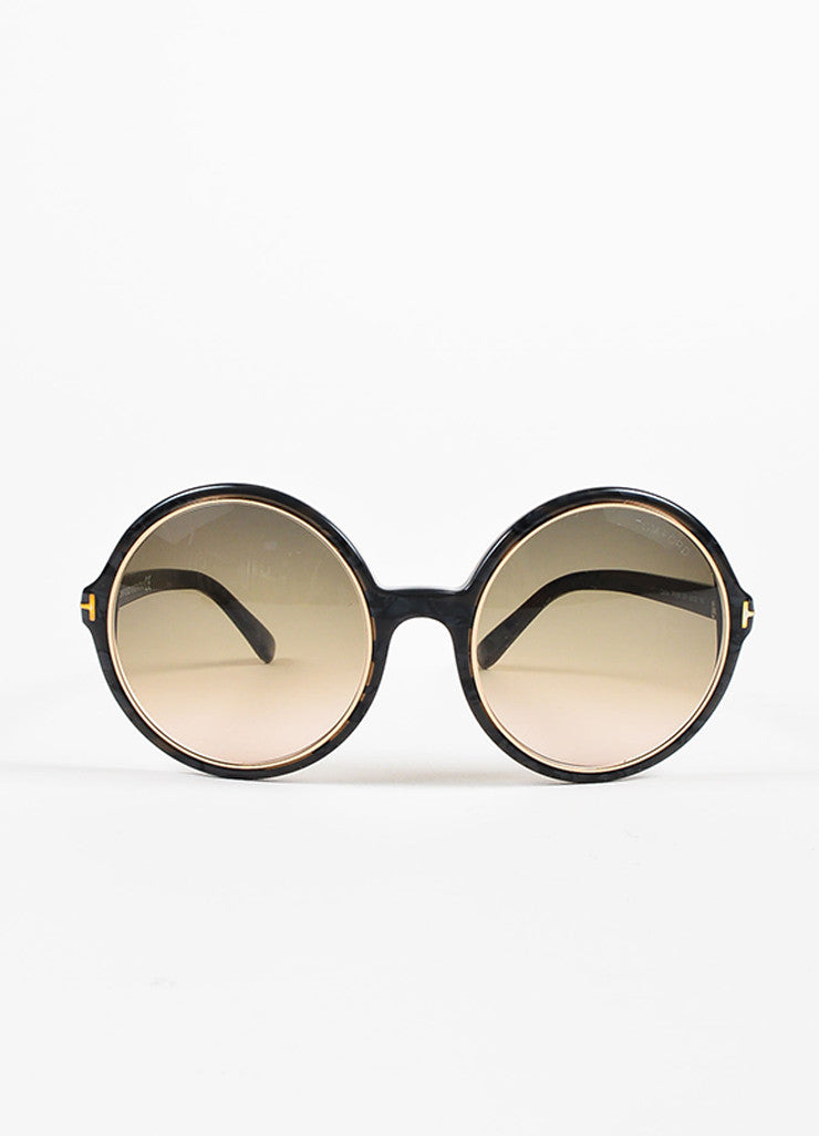 "Tom Ford Grey Gold Tone Trim ""Carrie"" Oversized Round Sunglasses Front"