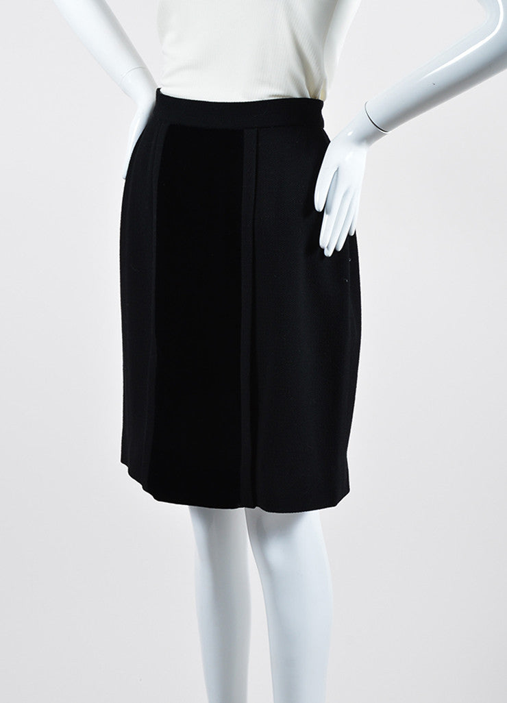 Black Chanel Wool and Velvet Pencil Skirt Sideview