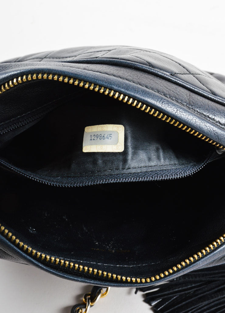 Vintage Chanel Black Leather Quilted Cross Body Bag Interior 2