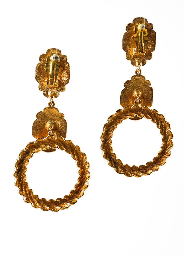 Gold Toned and Red Chanel Textured Dangle Open Circle Earrings Backview