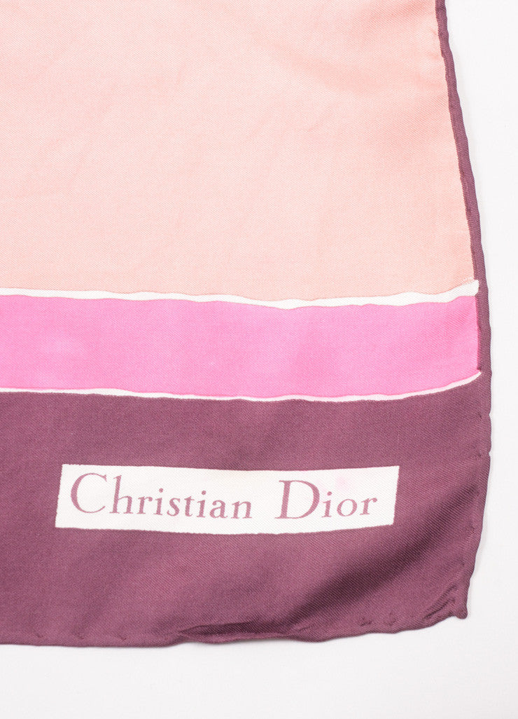 Christian Dior Purple, Pink, and Red Block Print Silk Square Scarf Brand