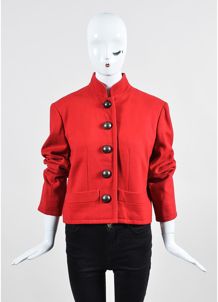 Red Yves Saint Laurent Wool Button Tailored Jacket Frontview 2