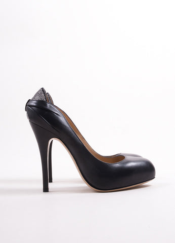 "Valentino Black Leather Silver Embellished ""Drape"" Platform Pumps Sideview"