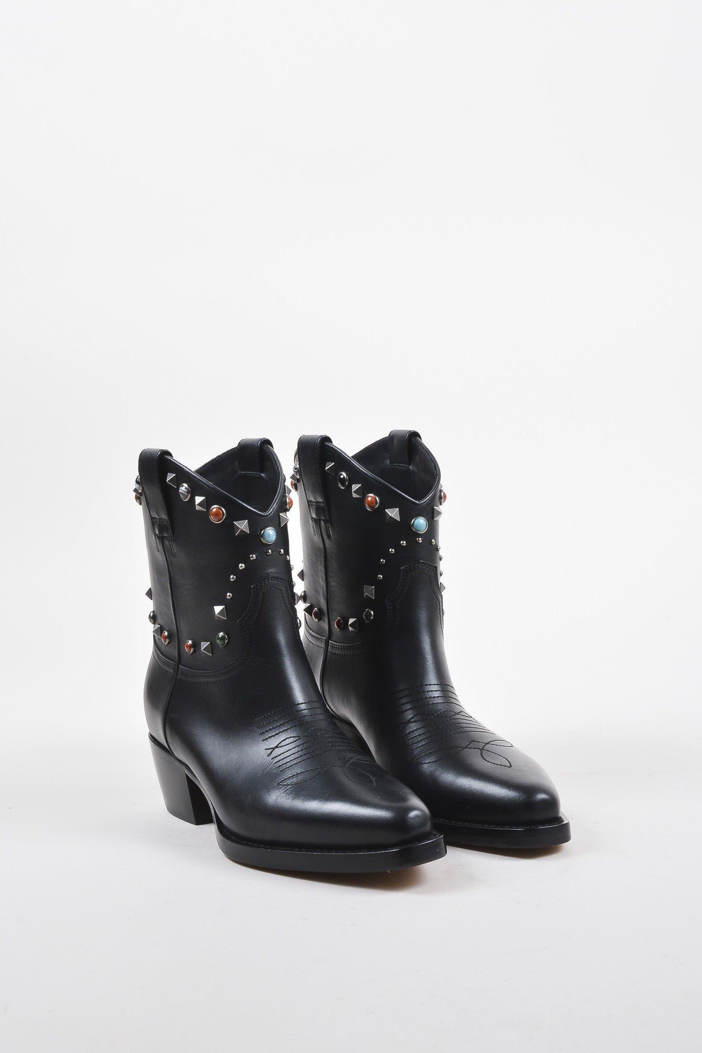 Valentino Garavani Black Leather Texan Rockstud Rolling Boots Frontview