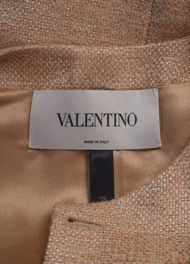 Valentino Nude and Black Wool and Silk Ruffle Bow Zip Jacket Brand