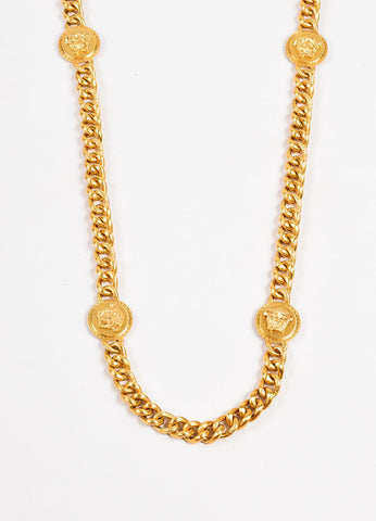Versace Gold Toned Medusa Medallion Chain Necklace Detail