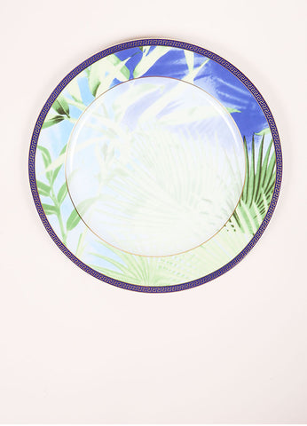 "Versace Rosenthal Green and Blue Leaf Print ""Jungle"" 12 inch Service Plate Frontview"