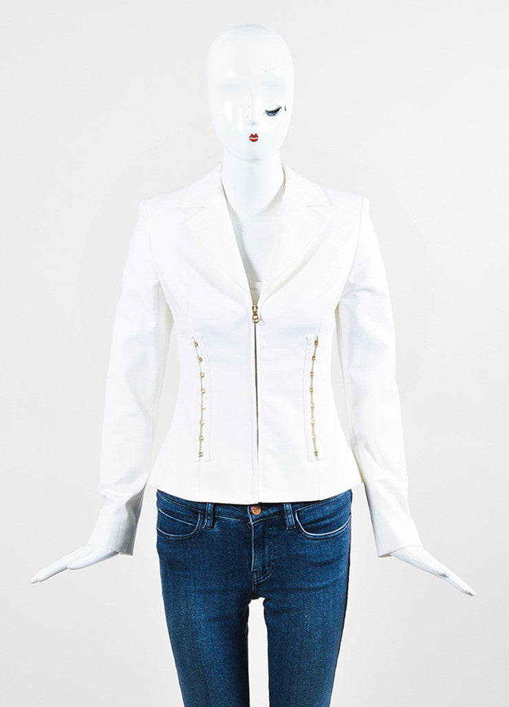 Versace White Cotton Gold Toned Hook and Eye Detail Zip Up Blazer Jacket Frontview 2