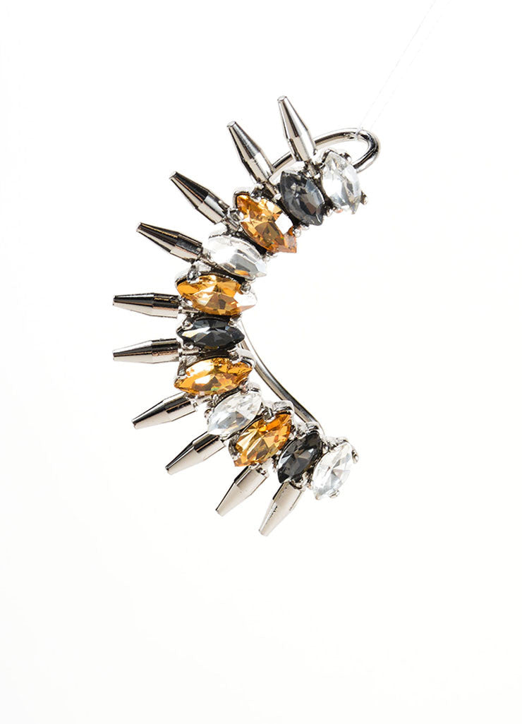 Vicki Sarge Silver Toned, Brown, and Grey Rhinestone Spike Ear Cuff Frontview